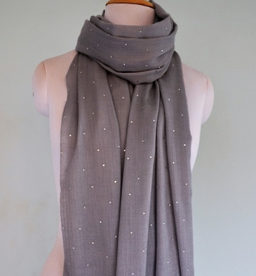 Silk Wool Stole With Allover Swarovski